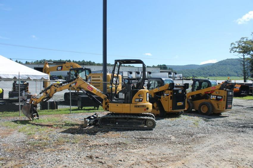 (L-R): The 303E CR mini-excavator, 249D compact track loader and 262D skid steer excavator.