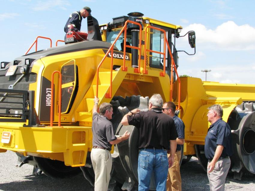 Attendees were all over the new Volvo LC450H landfill compactor and had lots of questions about Volvo's newest machine.