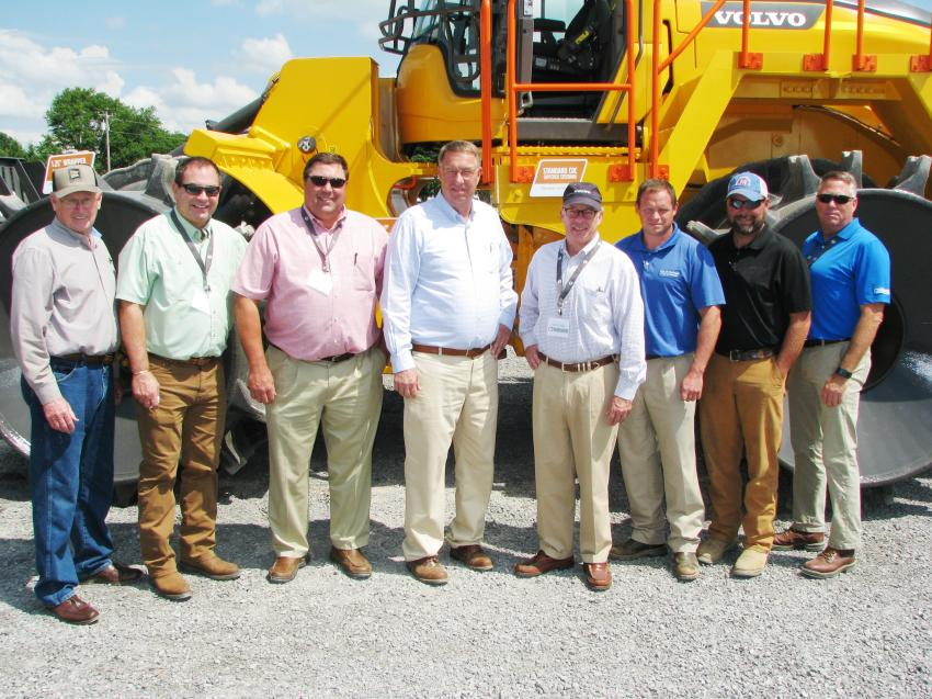Even the mayor of Cullman, Ala., and some of his staff turned out to join the Cowin staff for this event. (L-R) are: Terry Cantrell, Tim Gann and Randy Rockwell of Cowin Equipment; Cullman Alabama Mayor Woody Jacobs; Jamie Cowin, Cowin Equipment; Chris Freeman and Adam Boyles, city of Cullman, Ala.; and John Edwards, Cowin Equipment.