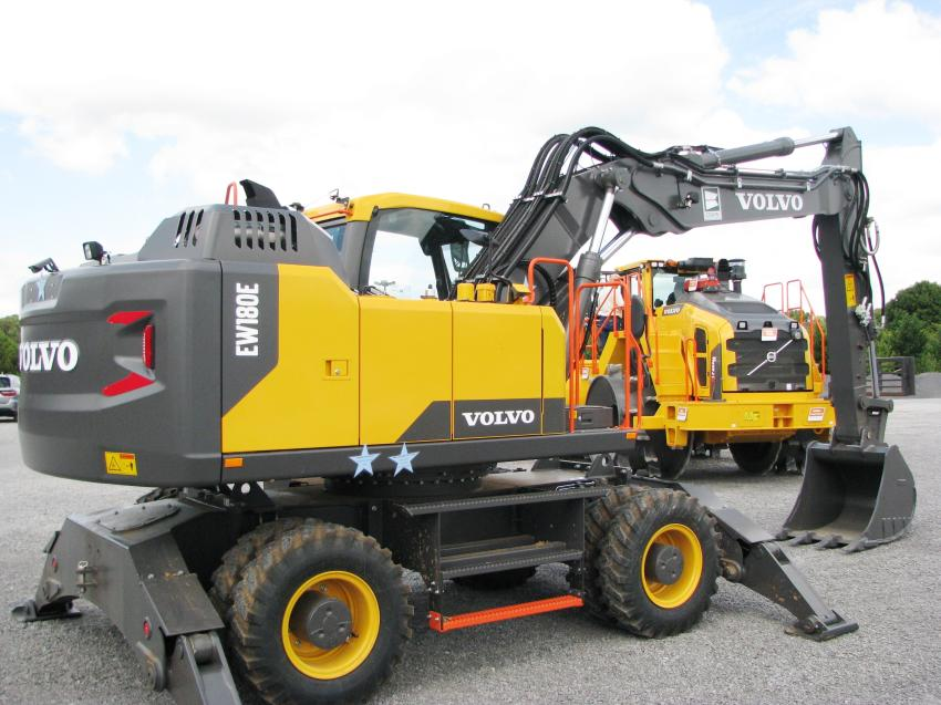 Another Volvo product on display at the event, a Volvo EW180E, is actually part of a new machine delivery and the second of two wheeled excavators purchased by Cullman County, Ala.