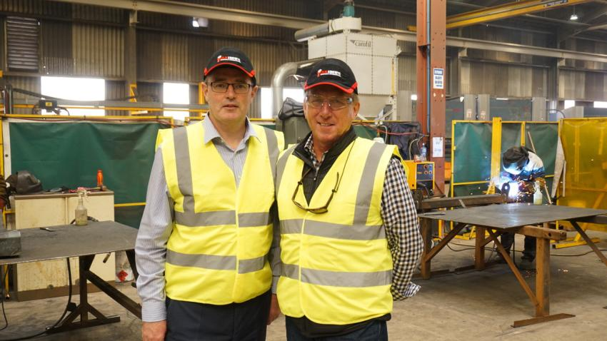 Neil Collins (L), managing director of the Rubble Master screen manufacturing plant in Northern Ireland, and Sean Collins, senior VP, Groff Tractor New Jersey LLC. (Rubble Master photo)