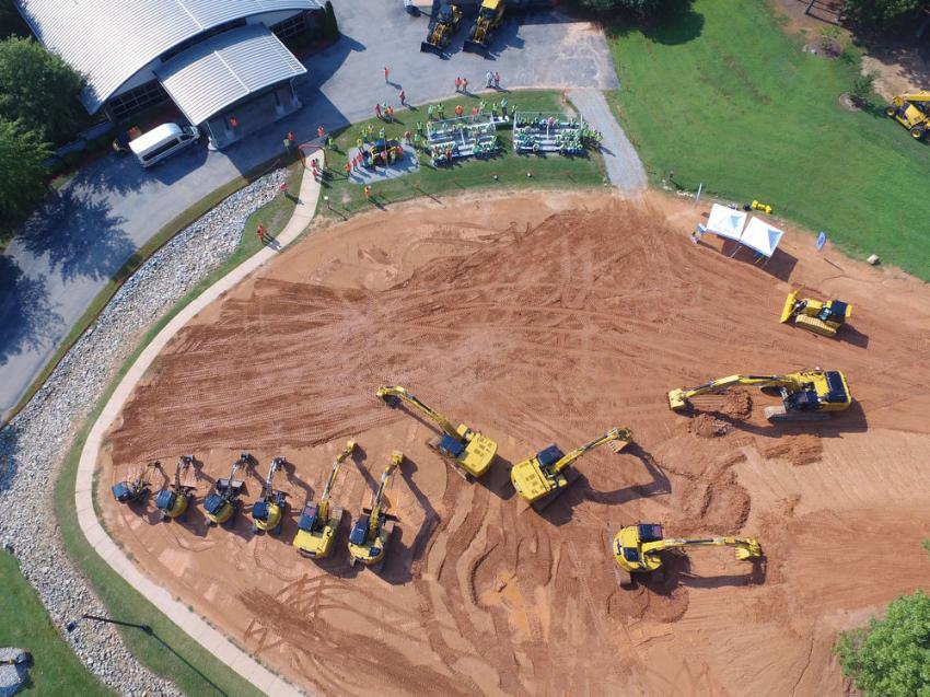 An overhead view of the excavator line demo area.