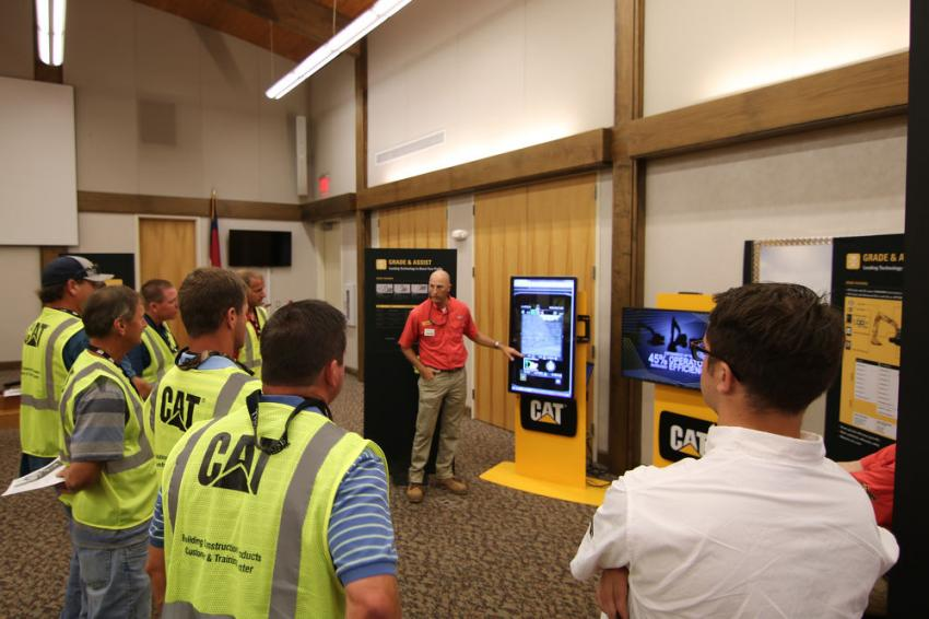 Sales Manager Rob Jackson demonstrated use of the Next Generation monitor inside the cab.