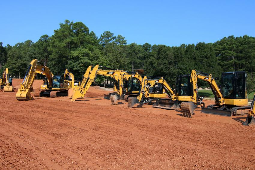 An excavator lineup was on display for customers.