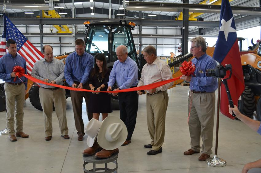 ASCO owners and their leadership team cut the ribbon to officially open the company's newest branch in San Antonio. (L-R) are Kyle Smith; John Wright; Chase Key; Courtney Vanderham; Brax Wright, CEO of ASCO; Steve Wright, president of ASCO Equipment Company; and Rinny Johnson.