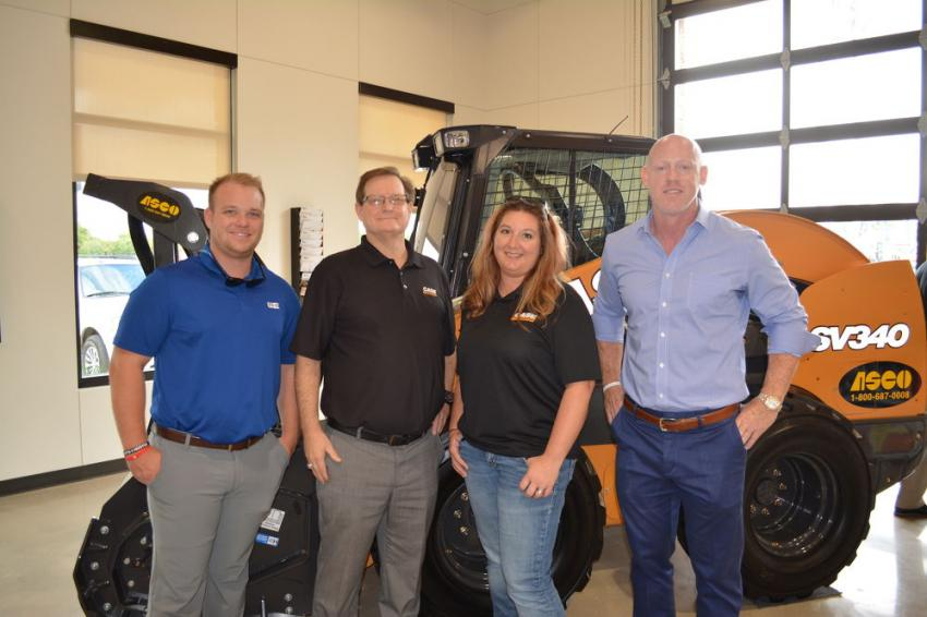 (L-R) are Mike Noward of Werk-Brau Attachments; Perry Girard, Case Construction Equipment product manager of attachments; Erin Seel, parts marketing administrator of Case; and Kelly Mackerer, ASCO regional sales manager.
