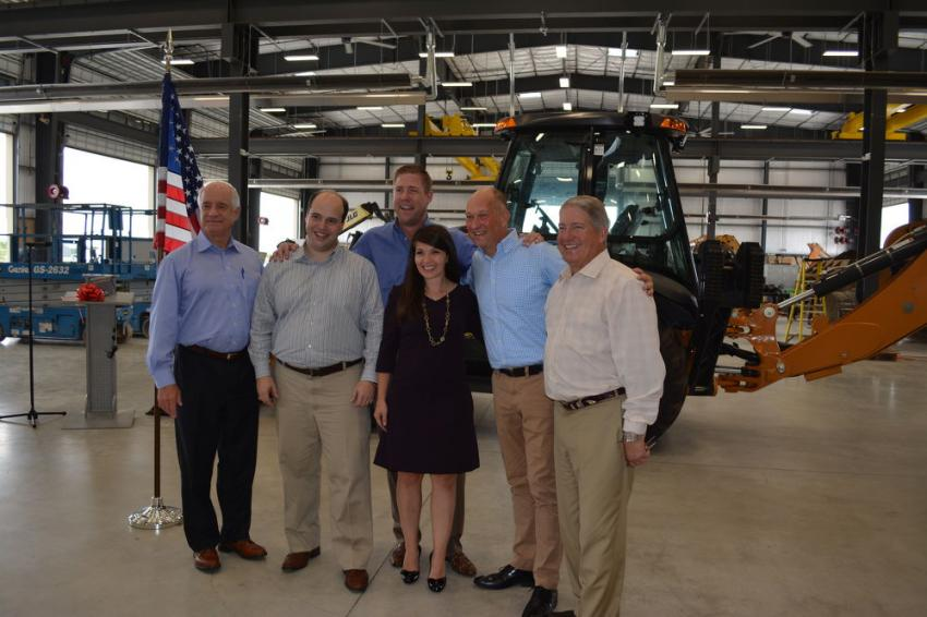 Wright family members are joined by Carl Gustaf Goransson, Case brand president, after officially opening the newest ASCO Equipment branch in San Antonio. (L-R) are Brax Wright, John Wright, Chase Key, Courtney Vanderham, Goransson and Steve Wright.