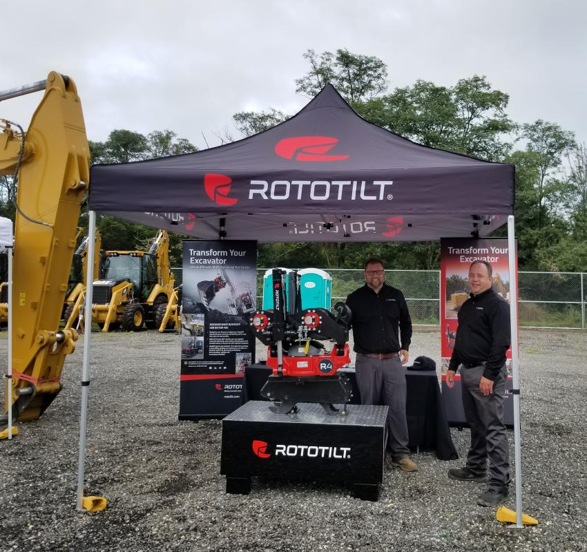 Phil Lucoe (L) and Craig Alderton of Rototilt were on hand to show their Tiltrotator and how it can improve machine versatility.