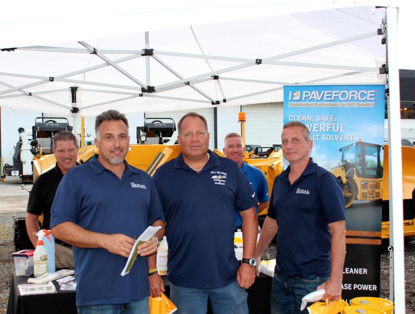 (L-R, front): Chris Cavoto of Opal Construction; Jon Savastano of All Island; and Bob Walsh, also of Opal, visit the Paveforce / Kennametal tent to learn from John Elam (L, back) and Paul Radley (R, back) how these unique products can benefit their business.