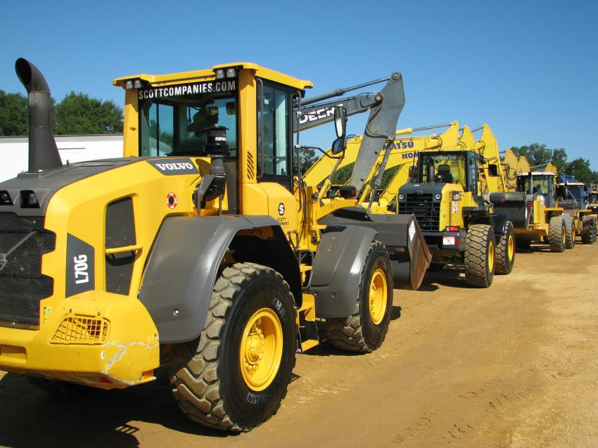 A selection of Cat, Komatsu, Deere and Volvo wheel loaders was available at the auction.