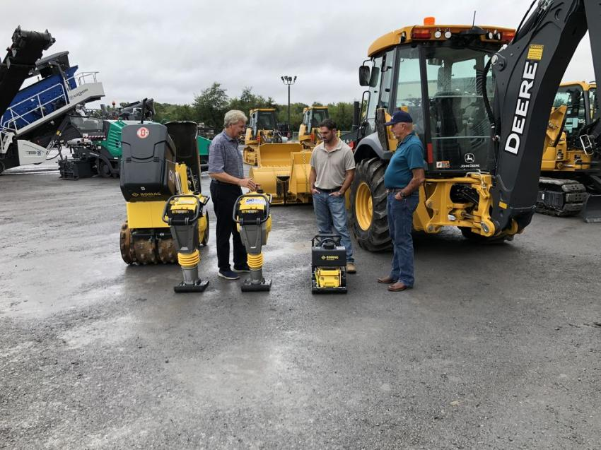 James River Equipment also offers Bomag compaction products. (L-R) are Ron Thomas, Bomag; and Chad Carpenter and Timmy Plecker, both of Plecker Construction, Staunton, Va.