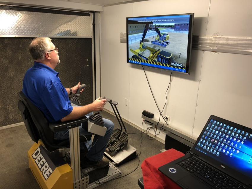 James River Equipment had its John Deere operator simulator on hand, which helps train operators on John Deere excavators, motor graders and dozers.