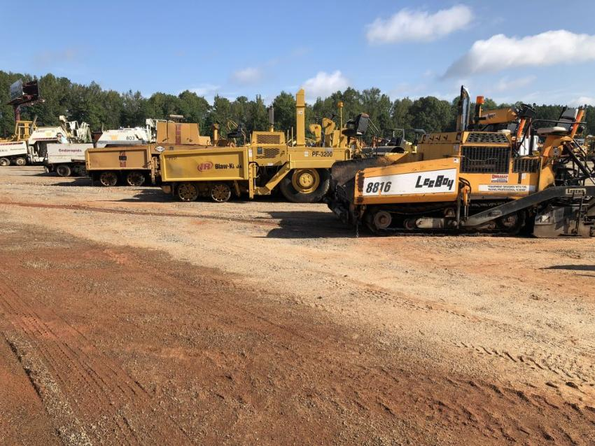 The auction included pavers from LeeBoy, Blaw-Knox, Ingersoll Rand and others.