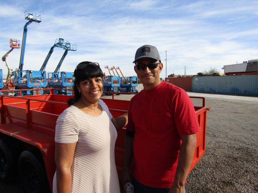 Evette Aviles (L) and Jesus Cavallevo, owners of Liquidators LV of Las Vegas, attended their first equipment auction. They were in need of a trailer to help with transportation and were excited to place their first bid on this Best Trail tagalong trailer.