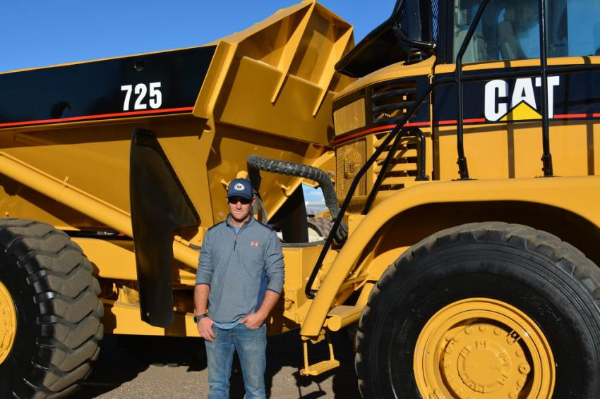 Jeff Biffle of Teletractors, a Pinedale, Wyo., contractor, needed an articulated truck for an upcoming project. He hoped to win this Cat 725.