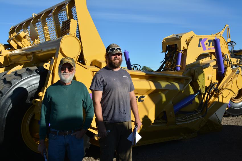 Construction Equipment Guide met up with friends Jon Woodard (L) of Jon's Salvage, Minatare, Neb., and Nick Ellis, owner of Made in the Shade, a landscape contractor in Longmont, Colo. The pair came across this K-Tec scraper, while Ellis was looking at loaders for an upcoming snow removal contract.