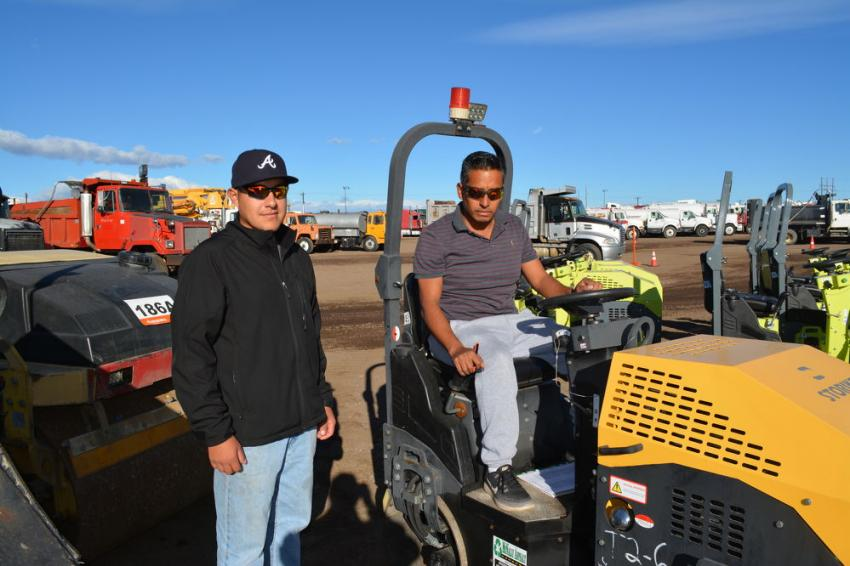 Isaac Sanchez (L) and Antonio Deziga, of Deziga Construction, were looking at compaction equipment and showed a lot of interest in huge selection of Storike vibratory rollers.