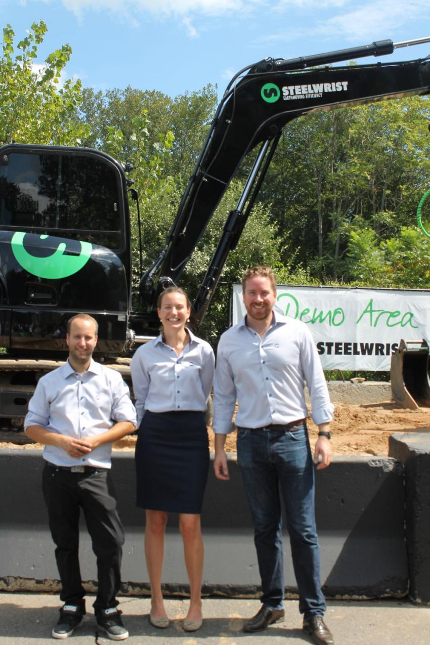 (L-R) are Martin Elfström, application engineer of Steelwrist; Sofia Danielsson, sales coordinator of Steelwrist; and Christian Yanes, general manager of Steelwrist.