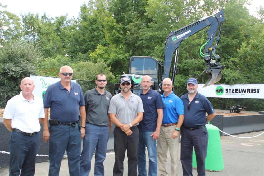 Tyler Equipment staff was on-hand at the grand opening. (L-R) are Tim McDermott (sales); Bruce Tuper (customer support); Sean King (rental coordinator); Brooke Tyler IV (V.P. customer support); Pete Gej (sales); Doug Ryan (sales); and Roland Mason (sales coordinator).