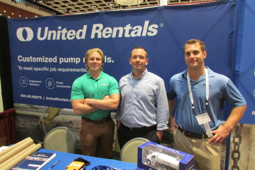 (L-R): Chris Najpauer, outside sales representative; Travis Chamberland, branch manager; and Sal Carafo, shoring specialist, represent United Rentals.