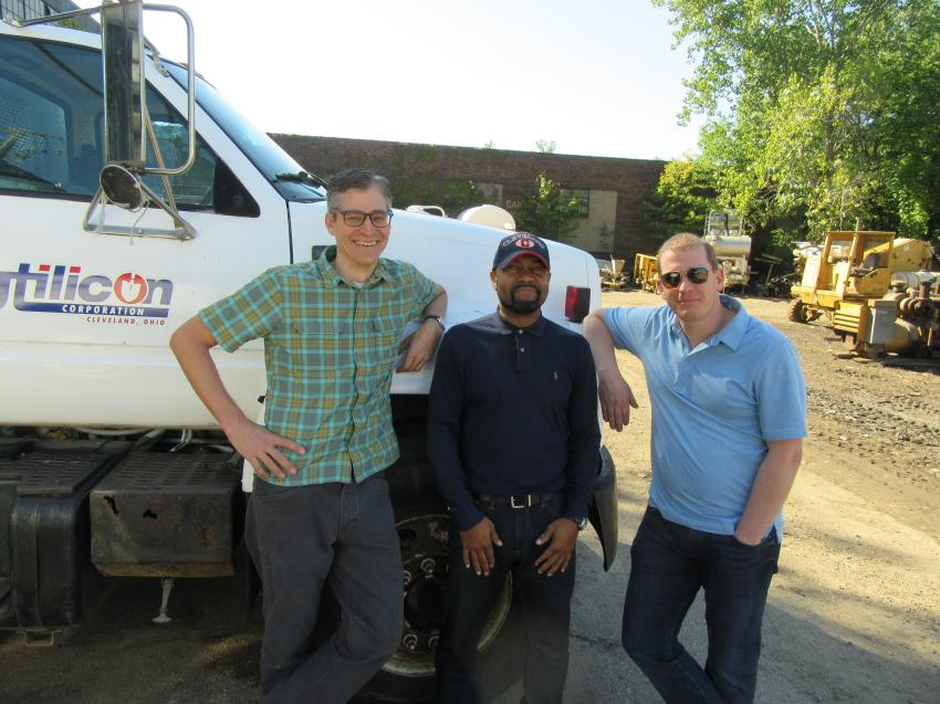 (L-R): Jeff Miller and Dwight McClain of Utilicon Corp. were joined by Shawn Tedesco of Firewatch Contracting in monitoring progress at the auction.