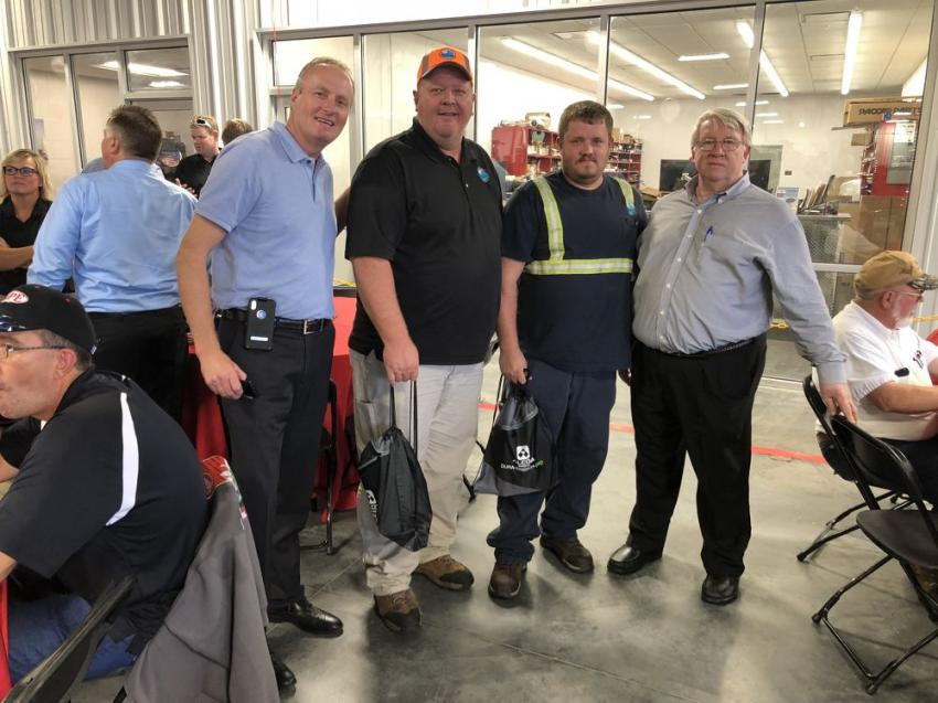 (L-R) are Kyle Larson of The Larson Group; Walter Tyson and Travis Vaughn, both of the City of Charlotte; and David Vermillion of Peterbilt of Charlotte.