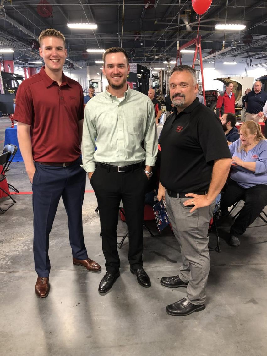 (L-R): Kyle Godfrey and Josh Sykes, both of Peterbilt of Charlotte, with Shawn Yancey, The Larson Group.