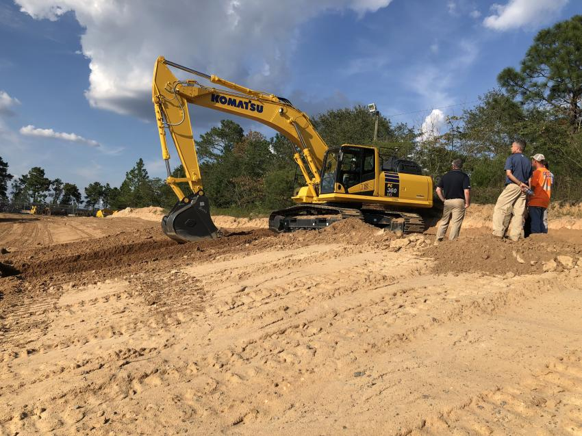 A steady flow of guests tested out the new Komatsu PC360i, and many were impressed with the features.