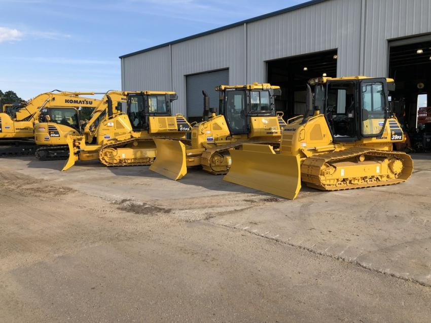 The latest machines from Komatsu were available for the guests to try out.