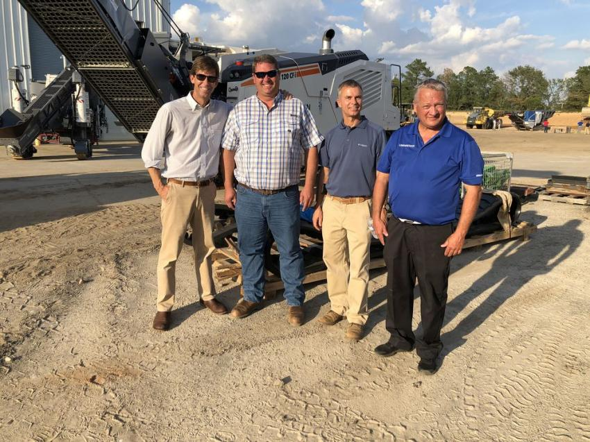 (L-R) are Steven Jackson, C.R. Jackson Inc. in Columbia, S.C.; Jason Wilkie, JC Wilkie Construction, Lexington, S.C.; and Zvi McManus and Earl Person, both of Linder Industrial Machinery