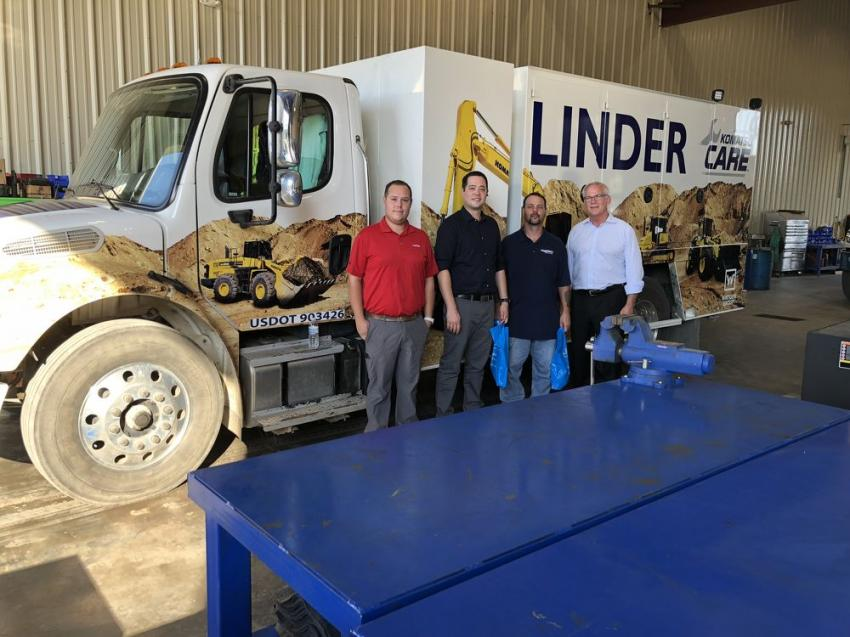 For many years, Linder Industrial Machinery has offered many different field service maintenance options for its customers. (L-R) are Trey Huntsinger of Linder; Jin Baisch of CSX in North Charleston; Danny Miller of Parsec Inc. in North Charleston; and John Coughlin, president of Linder.
