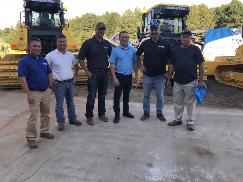 (L-R) are Corey Robinson, Raby Construction, Greenville, S.C.; Greg Hill, Triad Grading, Greenville, S.C.; William Pittman, Michael Raby and Scott Childress, all of Raby Construction; and Clary Hood of Clary Hood Inc. in Spartanburg, S.C.