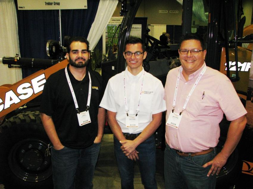 (L-R): Trekker Group's Jorge Reveron, Mathew Price and Mathew Guist, first-time Landscape Show exhibitors, await the next wave of guests to stop by their Case exhibit.