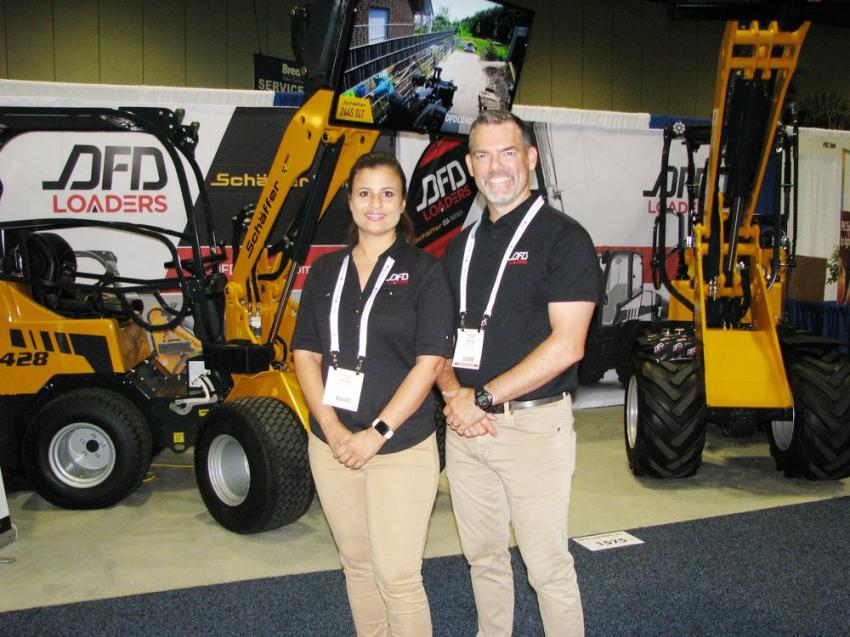 Rachel Boutet (L) and David Font of DFD Loaders Inc., Coral Springs, Fla., made their U.S. debut at the 2018 Landscape Show with the Schaffer compact articulated loader line.