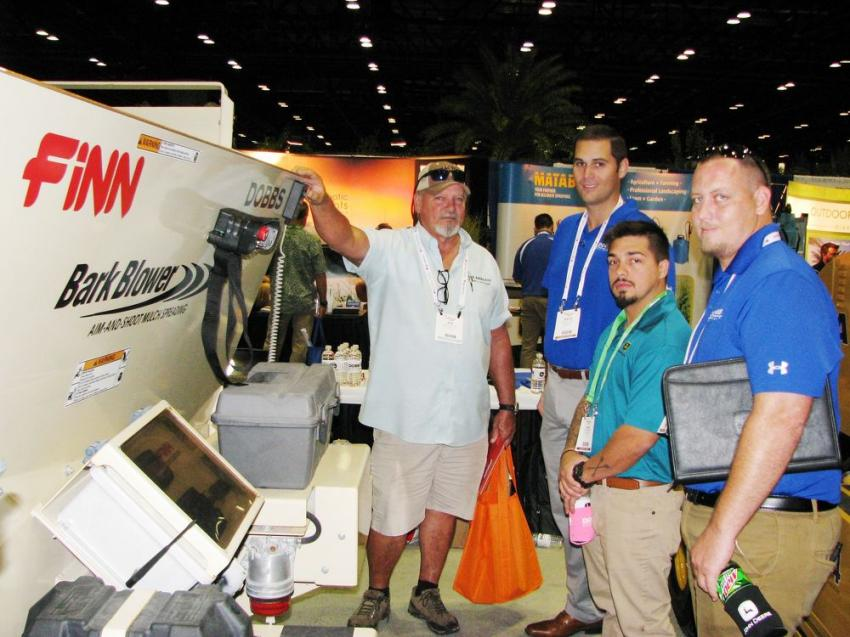 (L-R): Talking about the Finn mulch and bark blowers, Dobbs Equipment's newest line of products, are Dan Stowe, Lake Kirkland Nursery & Tree Farm, Clermont, Fla.; and Travis Long, Ryan Rodgers and Garrett Rodberg of Dobbs Equipment.