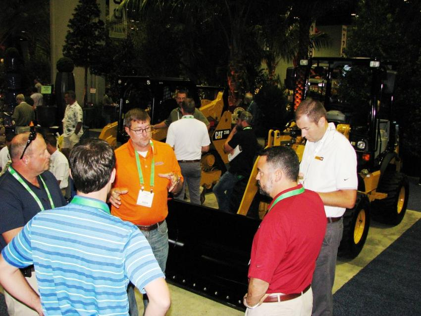The Ring Power Corp. display was swamped with landscape professionals looking for more info on the latest in Caterpillar equipment.