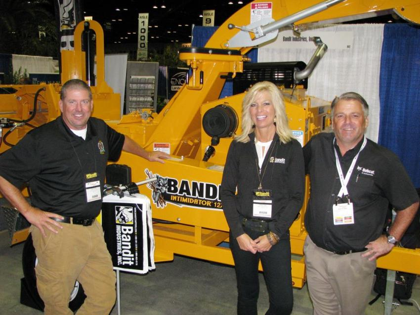 (L-R): Bandit Industries' Kyle P. Hobbs and Dawn Cook are joined by Sean Swor of Bobcat of Jacksonville, one of their local dealer representatives.
