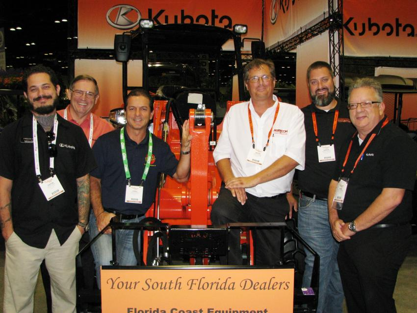 (L-R): At front and center of the show are the guys of Kubota including Justin Jones, Crystal Tractor, Deland, Fla.; Mike Stanley, Kubota Tractor Corp., Suwannee, Ga.; Jorge Ramirez, Growers Equipment, Davie, Fla.; Kevin Mason and Aaron Bunton of Agri-Con Equipment, Ocoee, Fla.; and Allan Campbell, Kubota Tractor Corp.