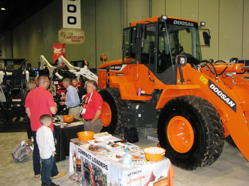 Synergy Equipment had the largest equipment display as well as, the largest machine in the show — a Doosan DL250 wheel loader.