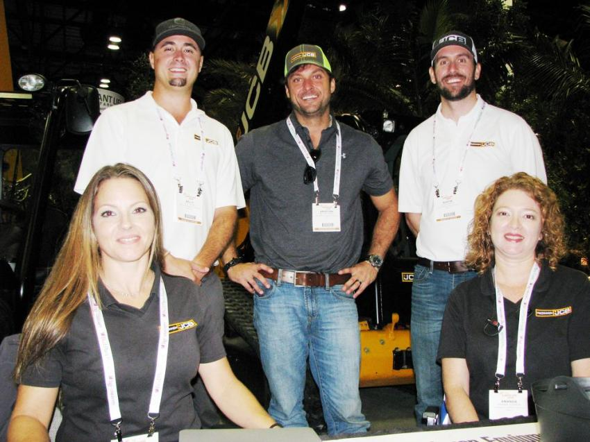 (L-R): April Fernandez, Billy Burr, Christian Mahrt, Austin McCoy, and Amanda Johnson, representatives of MacKinnon JCB, had a display of machines for the landscape industry.