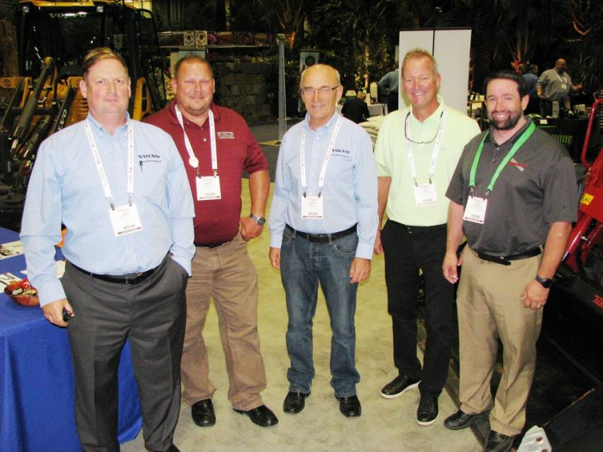 Manufacturers and distributors in the Flagler exhibit area included (L-R) Lars Arnold, Volvo Construction Equipment; David Willis, Flagler Equipment; Alois Fox, Volvo Construction Equipment; John Bates, Flagler Equipment; and Steve DePriest, Takeuchi, Pendergrass, Ga.