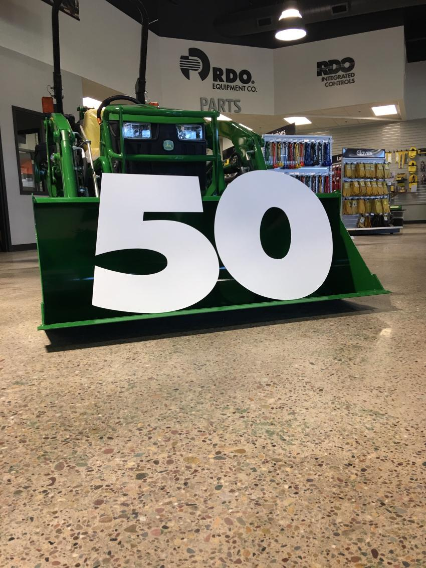 "Every RDO Equipment Co. store received giant ""50"" numbers to use in their own way to celebrate the 50th anniversary."