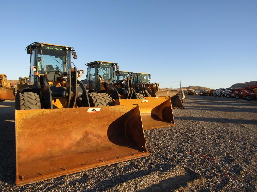 Plenty of John Deere wheel loaders were up for grabs at Ritchie Bros.' Las Vegas sale.