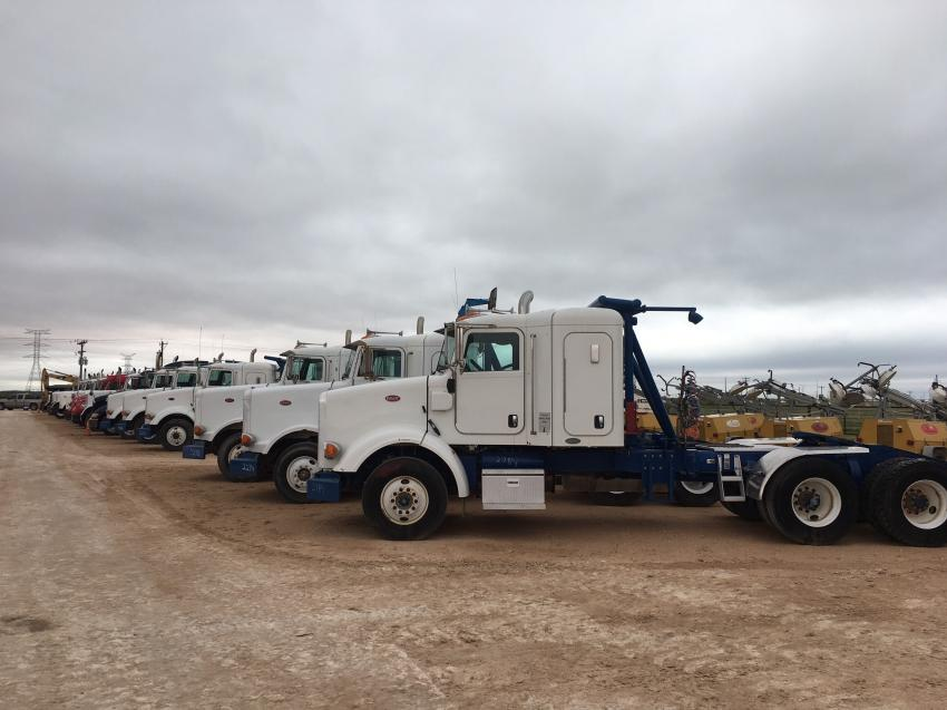 More than 29 truck tractors sold to the highest bidder in Stanton, Texas, Oct. 10.