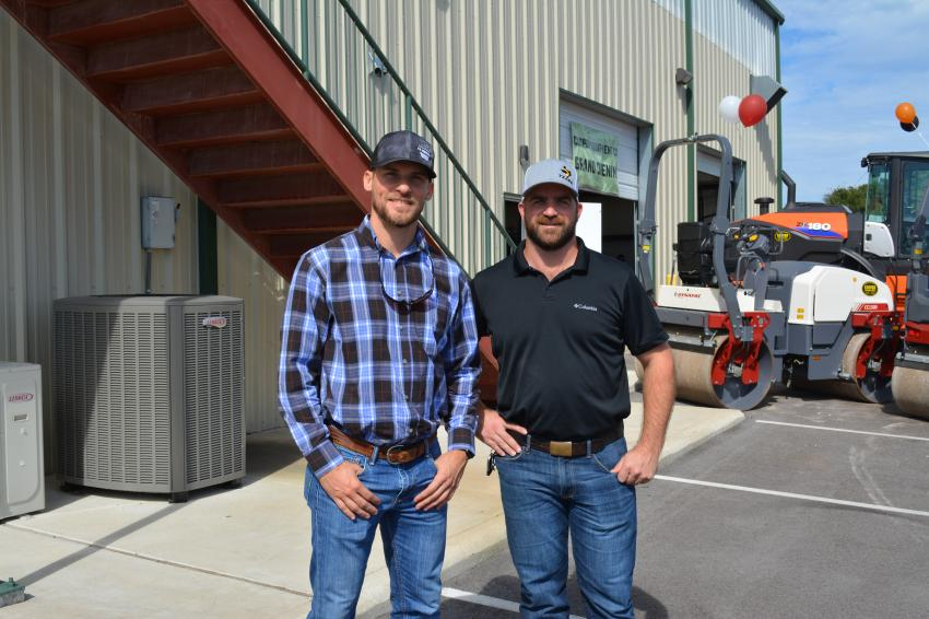 Shakotah Knowlton (L) of VK Knowlton, a San Antonio-area paving contractor, meets up with Matt Cooper, district manager of Cooper Equipment.