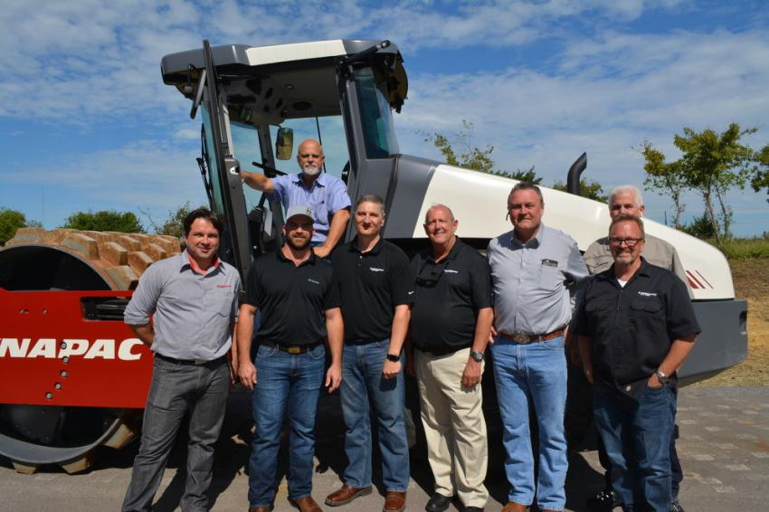 George Cooper (top), president of Cooper Equipment Co., and Matt Cooper (2nd from L), district manager of Cooper Equipment Co., with Dynapac representatives (L-R): Marcos Bueno, Tim Hoffman, Jerry Hackett, Gert Hansson, Tim Pittman and Pete Fredrickson.