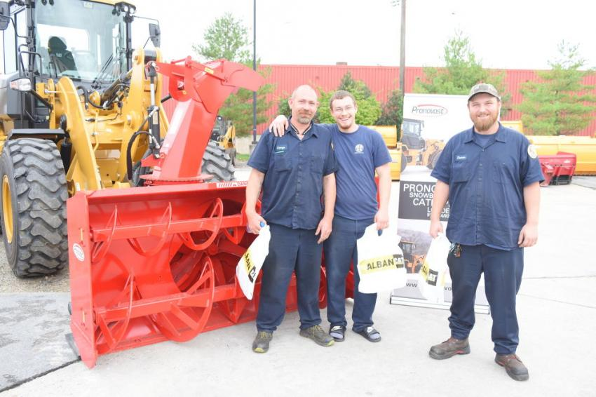 (L-R): George Kelly, Tom Hitchcock and Travis Jenkins, all heavy equipment technicians of  Baltimore County, were excited to learn more about the Pronovost Snowblower.