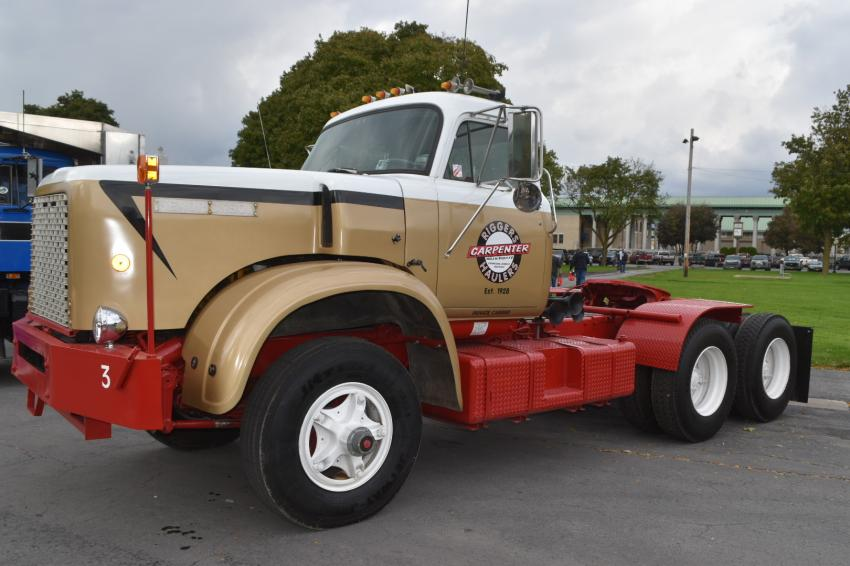Jerry Sanders, Associated Industrial Riggers, Syracuse, N.Y., found this 1970 Hendrickson truck in Ohio. It had been previously owned by his father and used in his rigging business, Carpenter Riggers and Haulers. Sanders restored the truck in honor of his dad.