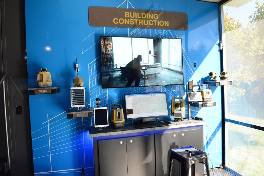 The building and construction exhibit inside the Topcon truck.