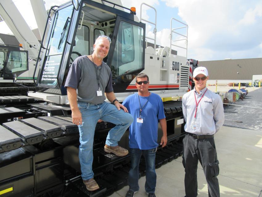 (L-R): Burg Hammond and Whitney Garman of Iowa Bridge & Culvert get details on this TCC500  from Link-Belt's Matthew Wershing.